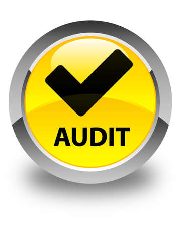 validate: Audit (validate icon) glossy yellow round button