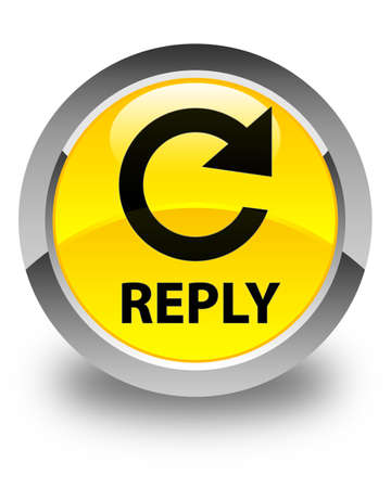 reply: Reply (rotate arrow icon) glossy yellow round button
