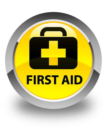 apothecary: First aid glossy yellow round button Stock Photo