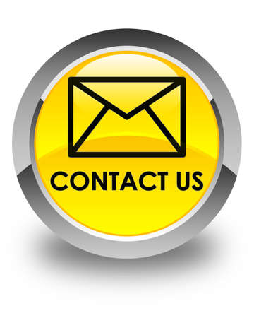 flysheet: Contact us (email icon) glossy yellow round button Stock Photo