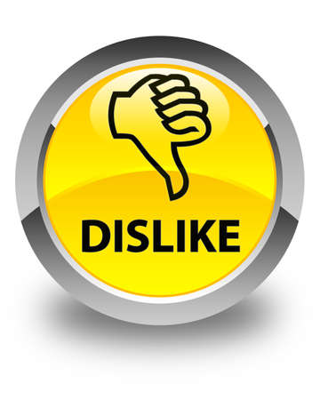 unsatisfied: Dislike glossy yellow round button Stock Photo