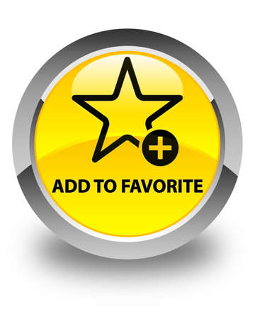 value add: Add to favorite glossy yellow round button Stock Photo