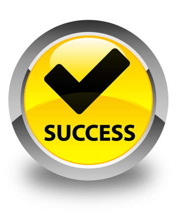 validate: Success (validate icon) glossy yellow round button Stock Photo