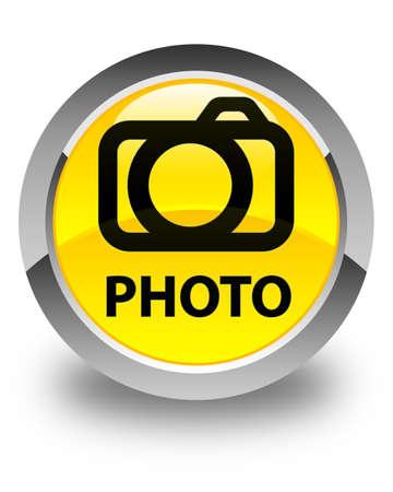 Photo (camera icon) glossy yellow round button