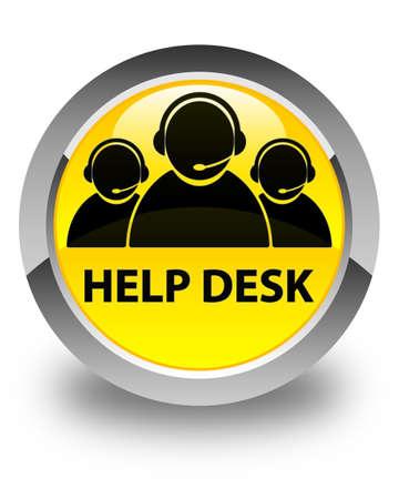 help desk: Help desk (customer care team icon) glossy yellow round button