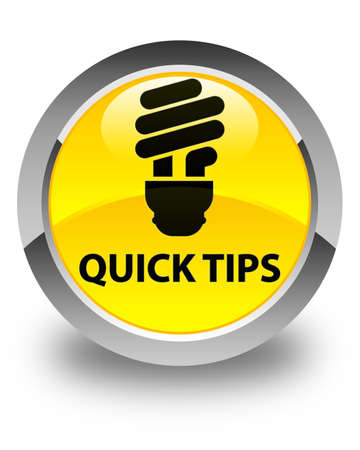 suggestion: Quick tips (bulb icon) glossy yellow round button Stock Photo