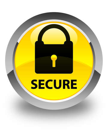 defend: Secure (padlock icon) glossy yellow round button