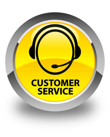 customer care: Customer service (customer care icon) glossy yellow round button Stock Photo