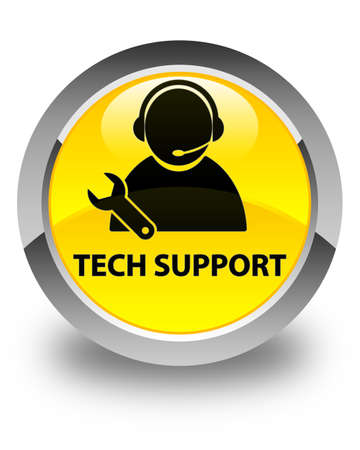 tech support: Tech support glossy yellow round button