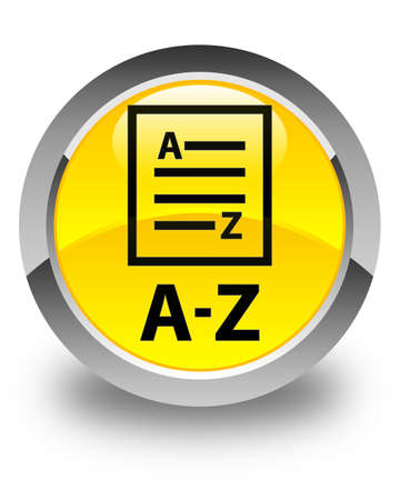 az: A-Z (list page icon) glossy yellow round button Stock Photo