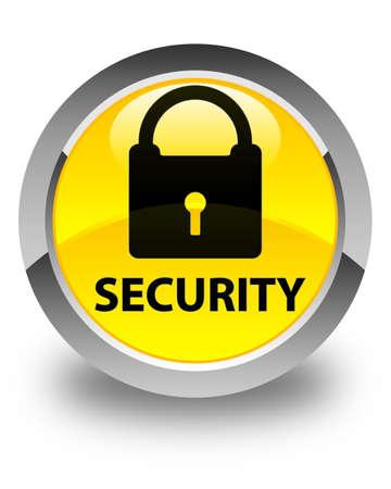 key hole shape: Security (padlock icon) glossy yellow round button