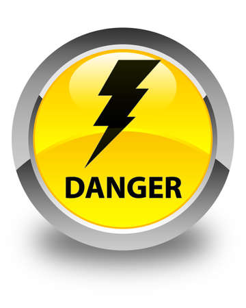 round button: Danger (electricity icon) glossy yellow round button Stock Photo