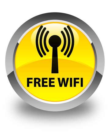 wlan: Free wifi (wlan network) glossy yellow round button