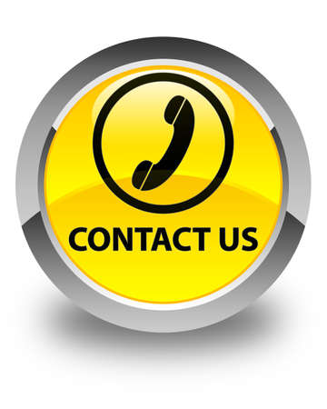 phone button: Contact us (phone icon round border) glossy yellow round button
