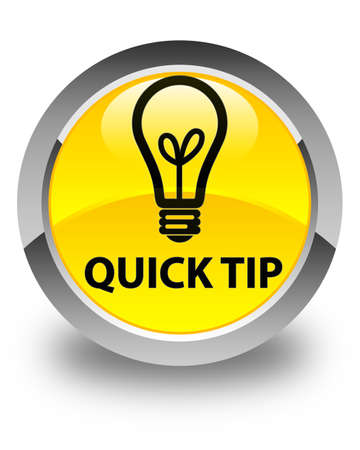 quick: Quick tip (bulb icon) glossy yellow round button Stock Photo