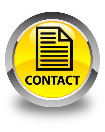 contact page: Contact (page icon) glossy yellow round button Stock Photo