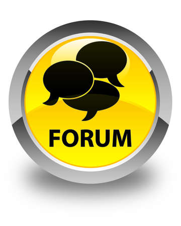comments: Forum (comments icon) glossy yellow round button Stock Photo