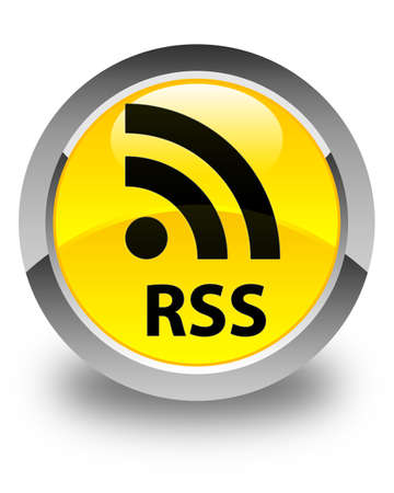 feeds: RSS glossy yellow round button
