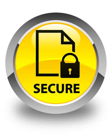 key hole shape: Secure (document page padlock icon) glossy yellow round button Stock Photo