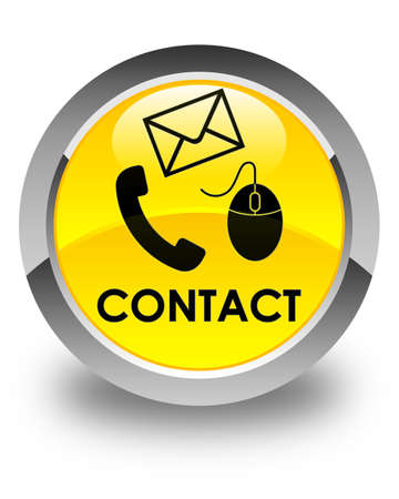 contact icon: Contact (phone, email and mouse icon) glossy yellow round button