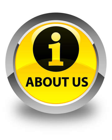'about us': About us glossy yellow round button Stock Photo