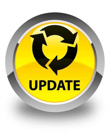 refresh icon: Update (refresh icon) glossy yellow round button