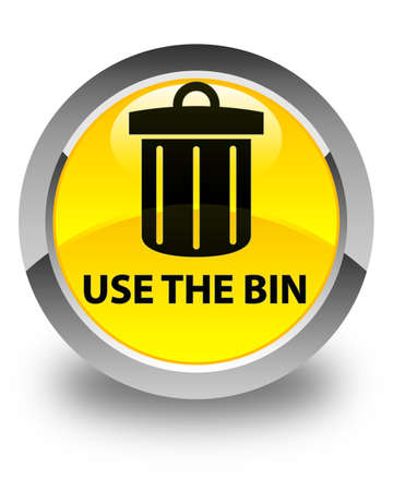 use: Use the bin (trash icon) glossy yellow round button Stock Photo