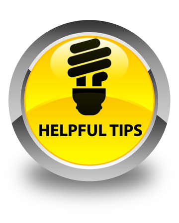 hints: Helpful tips (bulb icon) glossy yellow round button Stock Photo