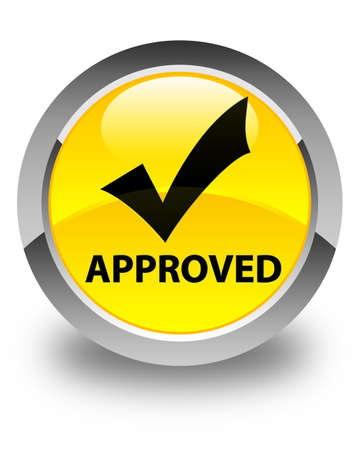 validate: Approved (validate icon) glossy yellow round button Stock Photo