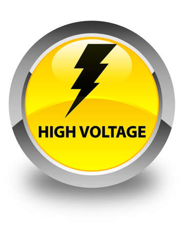 high voltage: High voltage (electricity icon) glossy yellow round button