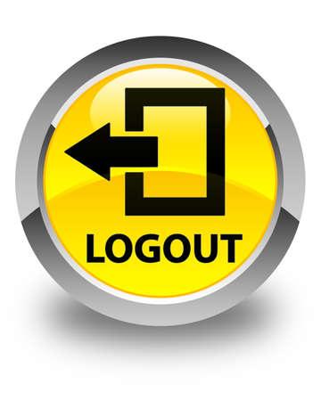 shut off: Logout glossy yellow round button
