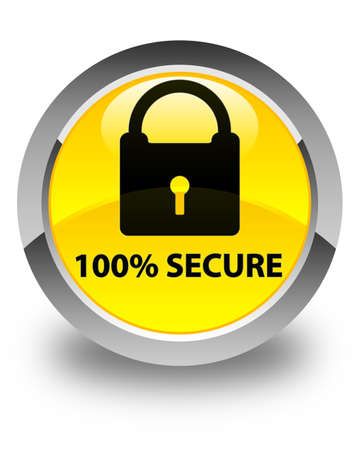 safeguard: 100% secure glossy yellow round button