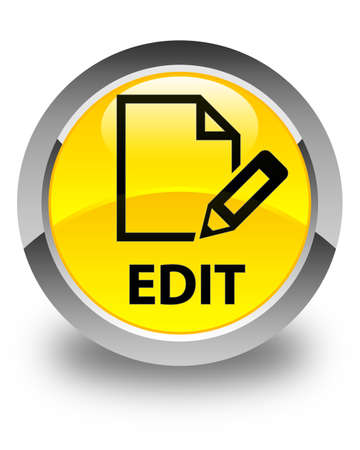 edit: Edit glossy yellow round button Stock Photo