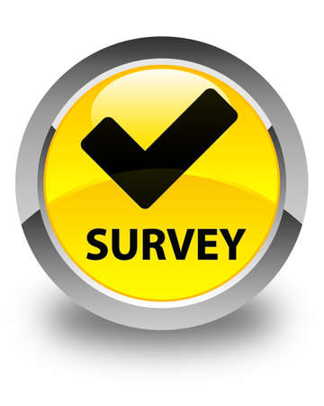 validate: Survey (validate icon) glossy yellow round button
