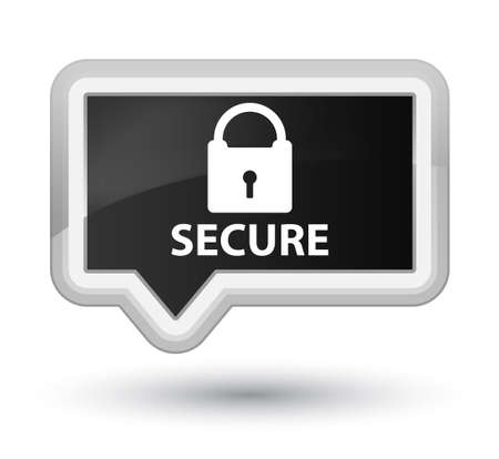 insecure: Secure (padlock icon) black banner button Stock Photo