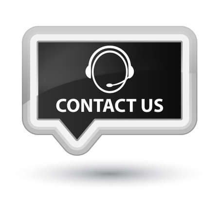 consultants: Contact us (customer care icon) black banner button Stock Photo