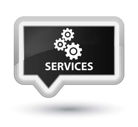 preference: Services (gears icon) black banner button Stock Photo