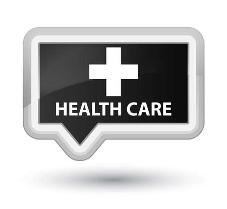 plus sign: Health care (plus sign) black banner button Stock Photo