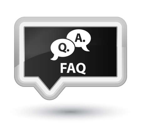 question and answer: Faq (question answer bubble icon) black banner button