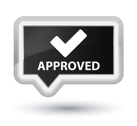 validate: Approved (validate icon) black banner button