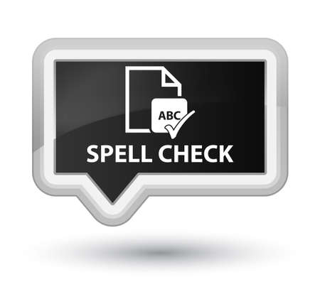 ok sign language: Spell check document black banner button Stock Photo