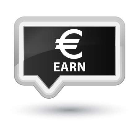 earn: Earn (euro sign) black banner button Stock Photo