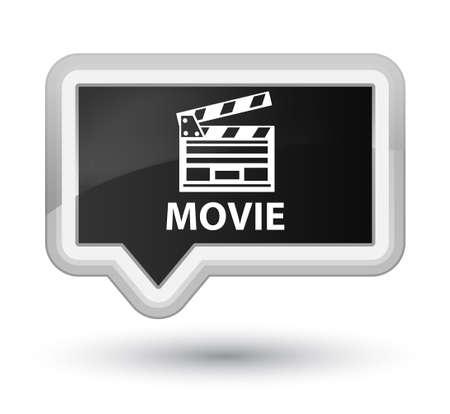 Movie (cinema clip icon) black banner button