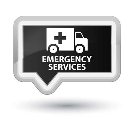 emergency services: Emergency services black banner button
