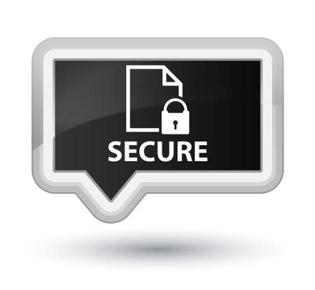 safeguard: Secure (document page padlock icon) black banner button