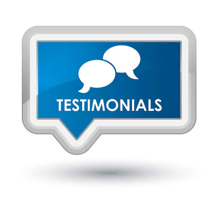 opinions: Testimonials (chat icon) blue banner button