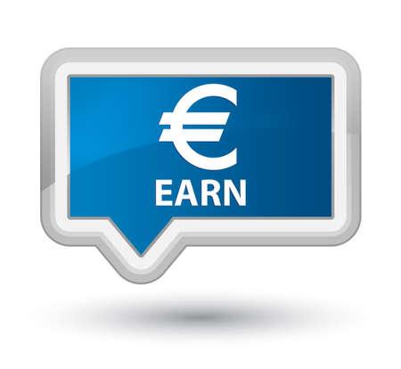 earn: Earn (euro sign) blue banner button Stock Photo