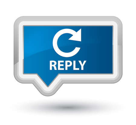 rotate: Reply (rotate arrow icon) blue banner button Stock Photo