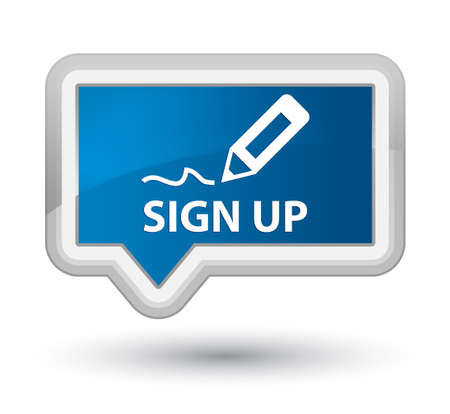 registry: Sign up blue banner button Stock Photo