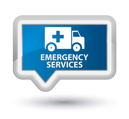 emergency services: Emergency services blue banner button